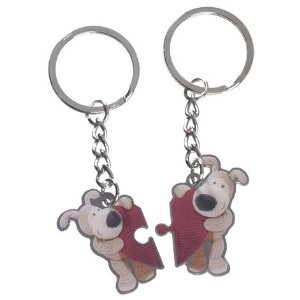 Boofle Valentines Gift Keyring Set - Two Heart Keyring Set