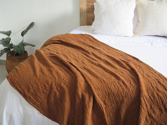 Handwoven Hand Dyed Rust Raw Cotton Throw Blanket 94x47 240x120