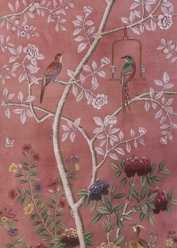 Dessin Fournir Companies - Beauport #WP1202 - Chinoiserie wallpaper - Pink hand painted