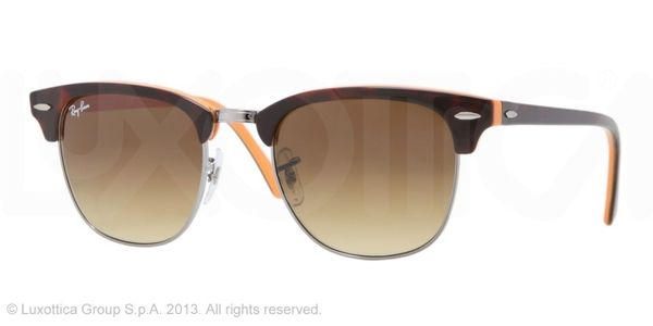 Ray-Ban Clubmaster RB3016 Sunglasses 112685 Top Dark Havana On Orange/Gunm Brown Gradient 51 21