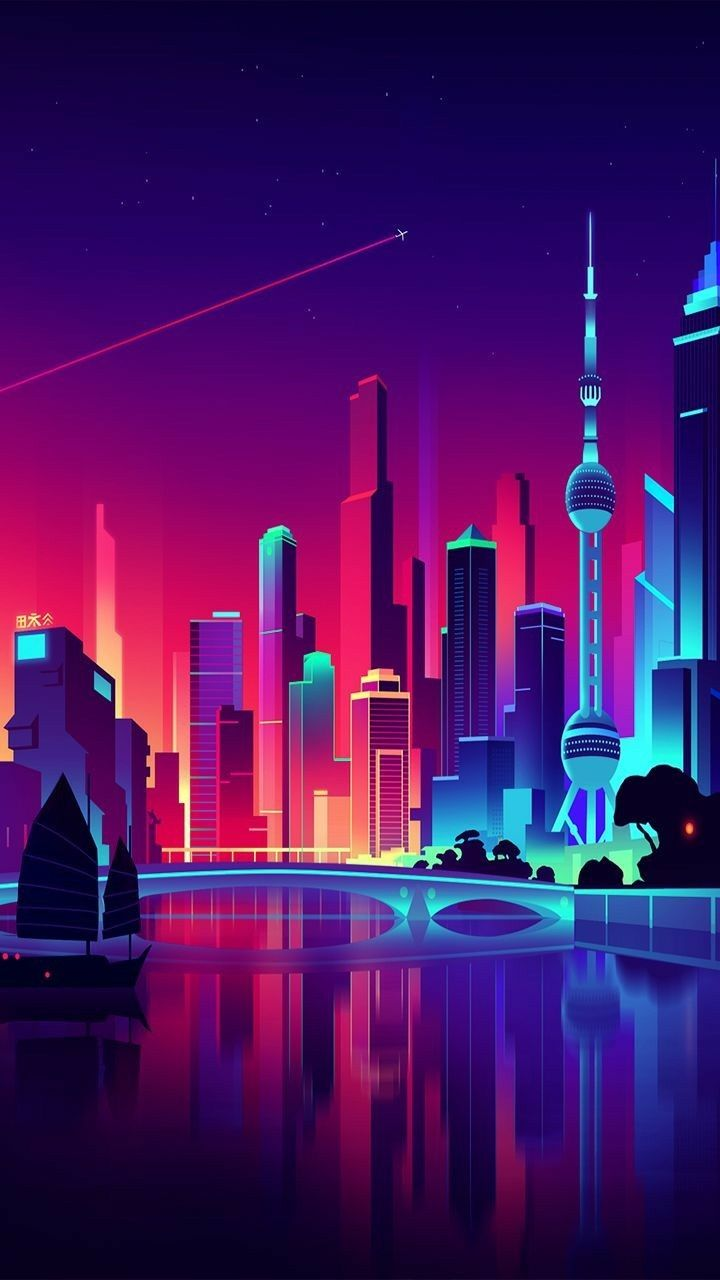 Beutiful Animated Town Mobile Wallpapers City Wallpaper City Art Futuristic City