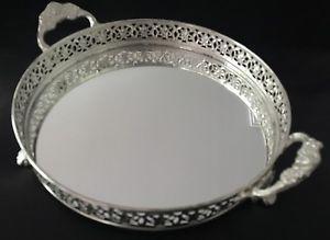 Serving tray round with mirror base, brass handles & brass legs