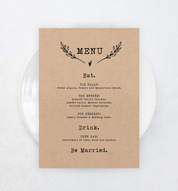 Printable Wedding Menu Card DIY 5x7 Brown by KarlyKDesignShop