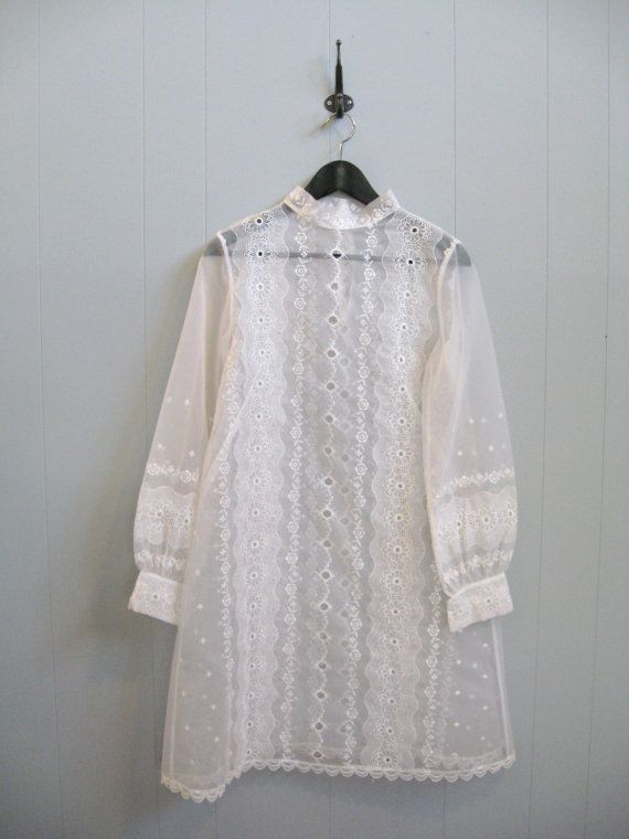 60s Vintage SHEER WHITE EMBROIDERED Hippie Boho Babydoll Wedding Dress