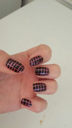 Pink and black stripes nail art
