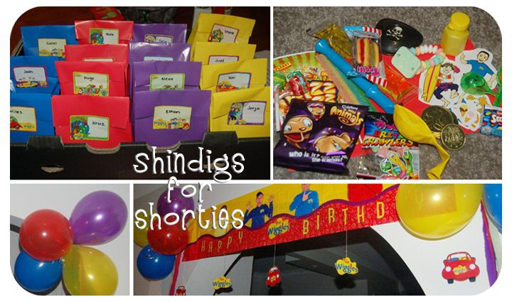 Wiggles party loot and decorations.