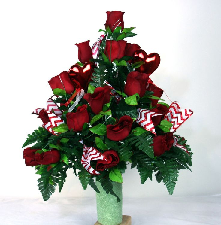 Valentine' Day Red Roses With Red and White Chevron Ribbon Cemetery Arrangement
