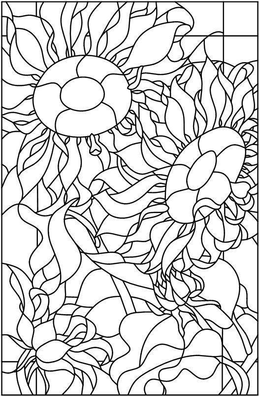 flower mosaic coloring pages | 17 Best images about Sunflower mosaics on Pinterest ...