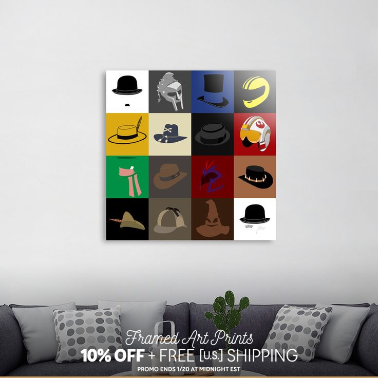 Discover «16 hats», Limited Edition Acrylic Glass Print by Omar Gonzalez - From 95€ - Curioos (Charles Chaplin, Gladiator, Gangs of New York, Kill Bill, The Mask, Apocalypsis now, Breaking Bad, Star Wars, The Hatter, Indiana Jones, Magneto, Cocrodile Dundee, Robin Hood, Sherlock Holmes, The sorting hat, Clockwork Orange)
