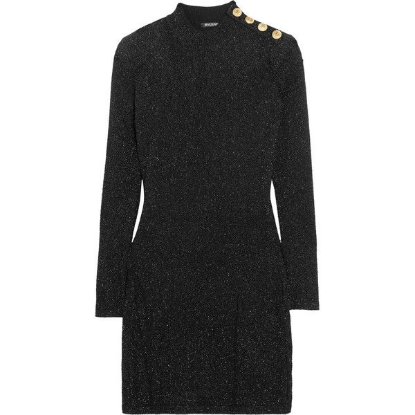 Balmain Button-detailed metallic knitted mini dress ($1,310) ❤ liked on Polyvore featuring dresses, balmain, black, mini dress, wet look mini dress, metallic short dress, shiny metallic dress and metallic evening dress