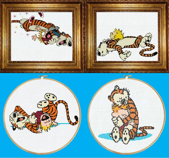 Calvin and Hobbes Four-Pack Cross Stitch PDF Pattern Download Now you can purchase all 4 of my Calvin and Hobbes patterns for a discounted