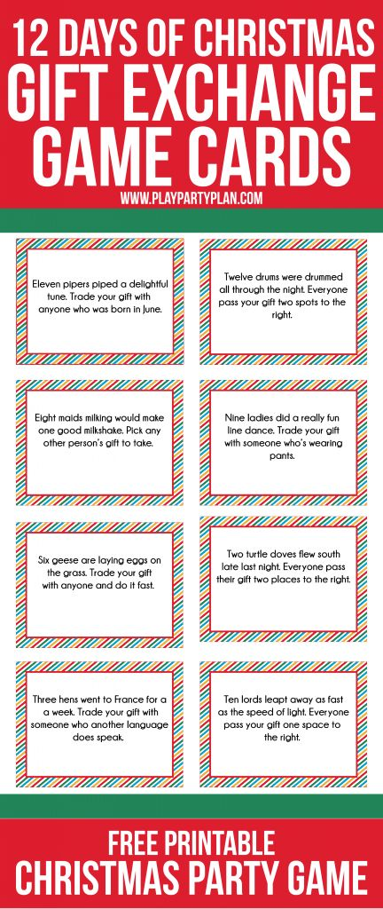Love this fun twist on traditional gift exchange games! Free printable cards inspired by the 12 days of Christmas to use for swapping gift exchange gifts and some even some fun gift ideas if you need some ideas.