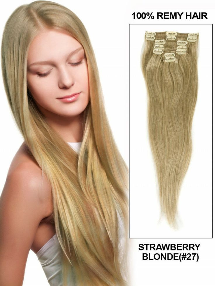"""Strawberry Blonde(#27) 15"""" 11pcs Straight Clip In Remy Hair Extensions - Clip In Hair Extensions"""