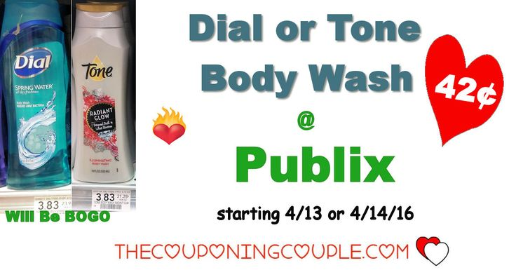 Dial or Tone Body Wash $0.42 each @ Publix starting 4/13 or 4/14 for some. Get your coupons ready for this awesome upcoming deal on body wash!  Click the link below to get all of the details ► http://www.thecouponingcouple.com/dial-or-tone-body-wash-0-42-each-publix/ #Coupons #Couponing #CouponCommunity  Visit us at http://www.thecouponingcouple.com for more great posts!