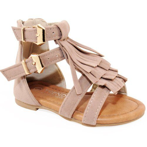 Baby Girls Strappy Buckled Fringe Gladiator Flat Sandals. Aren't these the cutest baby sandals!? Found them on amazon http://amzn.to/1Sdln8h They come in black and brown too.  Gladiator sandals for little girls, with fringe and 2 buckles. Cute sandals, cute shoes, for kids.  Disclosure: (affiliate)