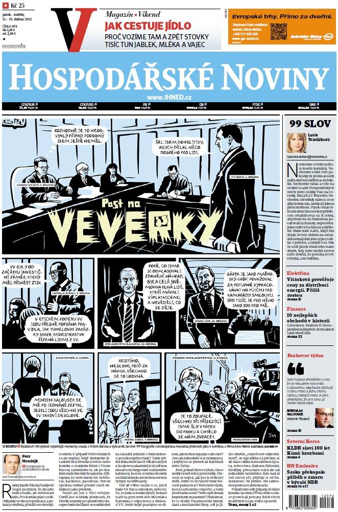 V den vynesení rozsudku na Vítem Bártou vyšel na titulní straně HN komiks Past na veverky od vytvarníka Jaromíra 99