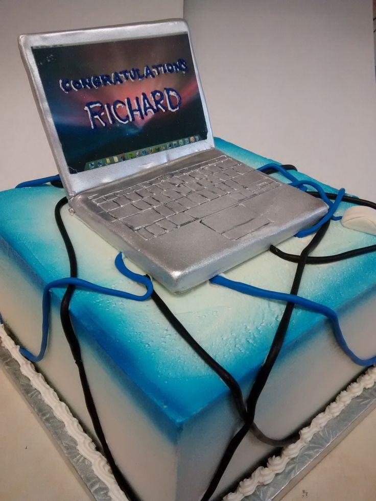 Super cool cake with a fondant laptop! www.orlandparkbakery.com