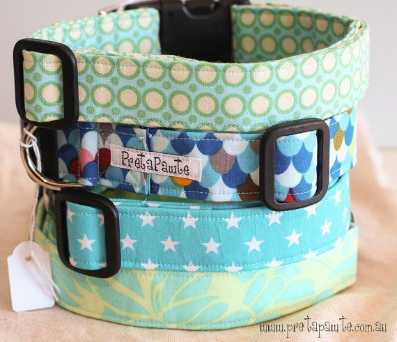 Large Dog Collar Light blue and green by PretaPawte on Etsy, $26.00