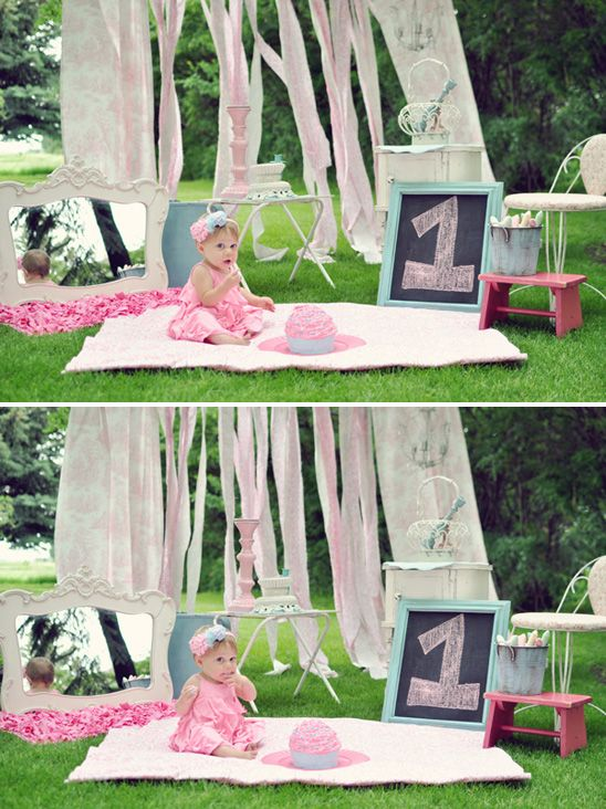 Whimsical cotton candy inspired cake smash session for your baby girl's 1st birthday