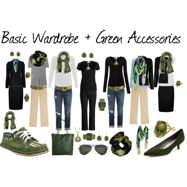 """""""Basic Wardrobe + Green Accessories"""" by susanmcu on Polyvore"""