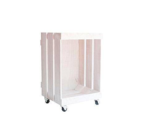 CAJAS Y CAJONES: Cajón con ruedas de madera inspiración vintage, vertical - blanco