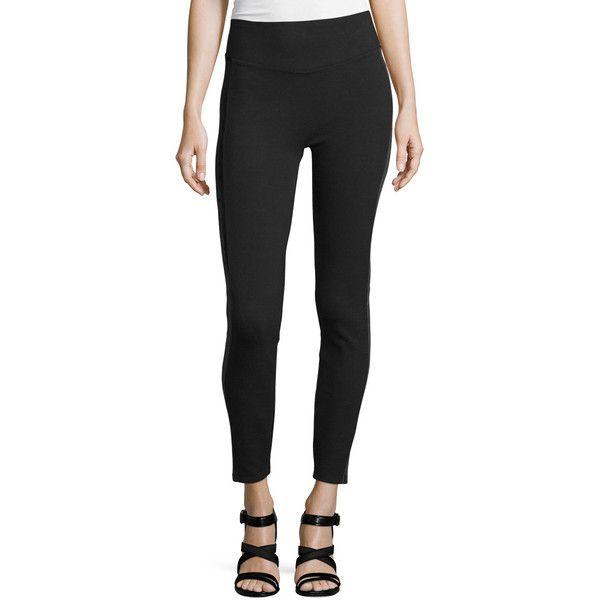 Spanx Ponte Velvet Leggings ($105) ❤ liked on Polyvore featuring pants, leggings, very black, spanx pants, velvet leggings, ponte knit pants, legging pants and ponte knit leggings