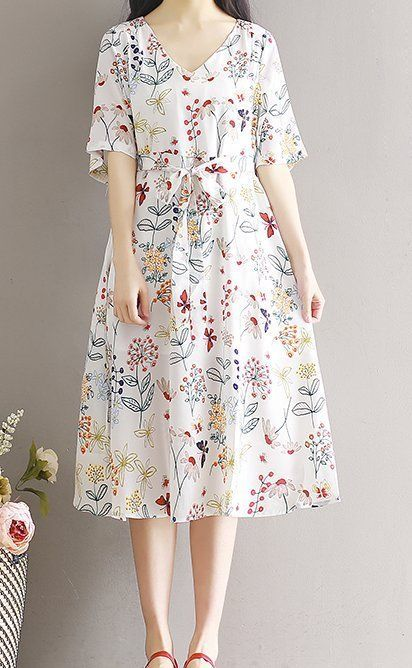 Women loose fit over plus size flower v neck chiffon dress bow ribbon waist chic #Unbranded #dress #Casual