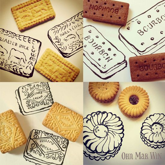 Month of food sketches biscuits malted milk bourbon custard cream Ohn Mar Win Illustration