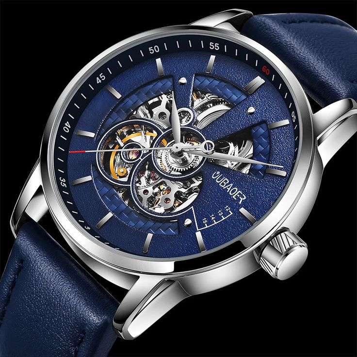 Men Luxury Brand high quality watches Military Blue dial Hollow watch Swiss the man Automatic Mechanical Leather strap waterproof wristwatch