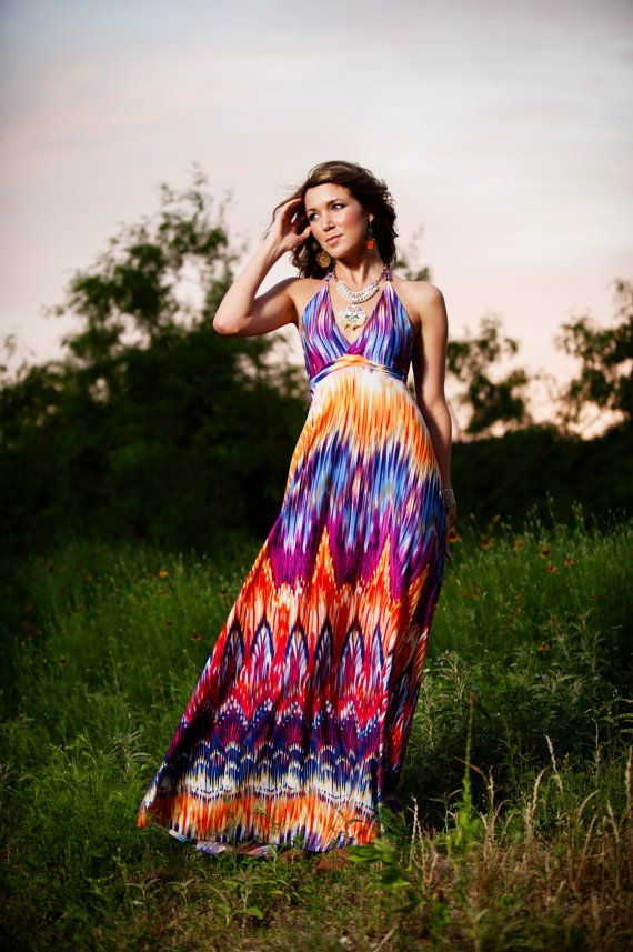Rainbow Jersey Maxi Gown by MJVOCouture on Etsy, $188.00