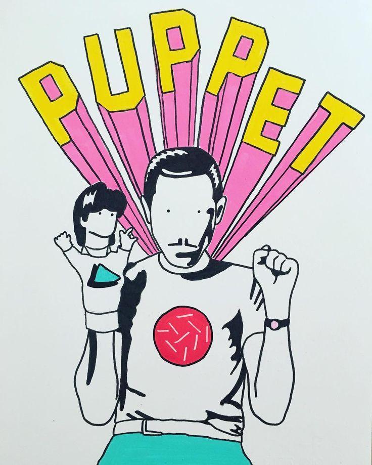 P U P P E T • posca on Fabriano paper. #illustration #drawing #puppet #pink #design #80s #tshirt #ポスカ #人形 #moustache #style #vintage #poscart #art #pop #uniposca #fabriano #minimal #alessiovitelli #2017