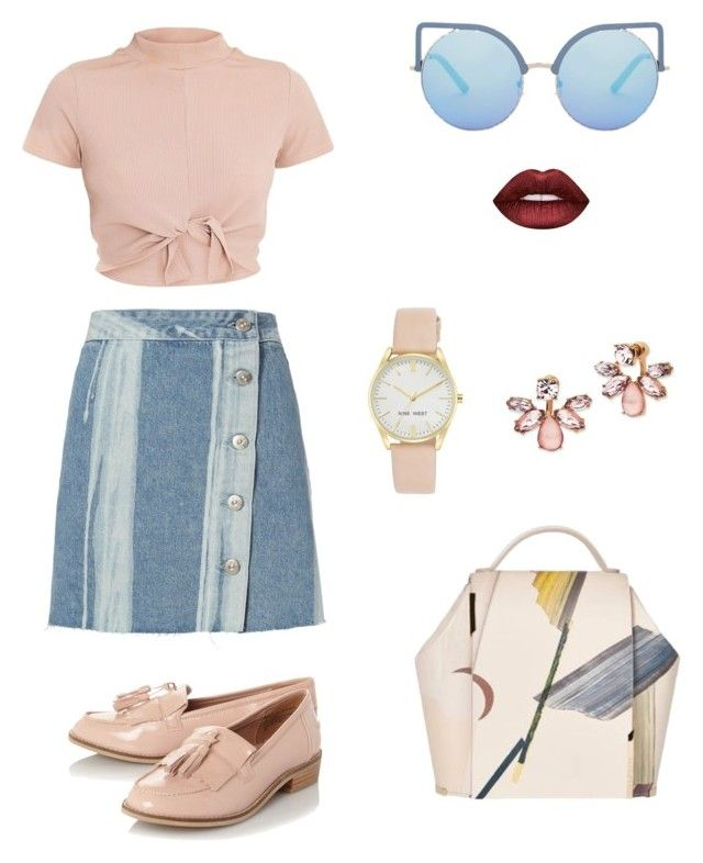 """""""Nude and Blue"""" by mariapauladiaz142 on Polyvore featuring 3x1, Steve Madden, Onesixone, Nine West, Marchesa, Lime Crime and Matthew Williamson"""