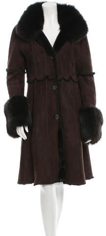 Dennis Basso Shearling Fox-Trimmed Coat