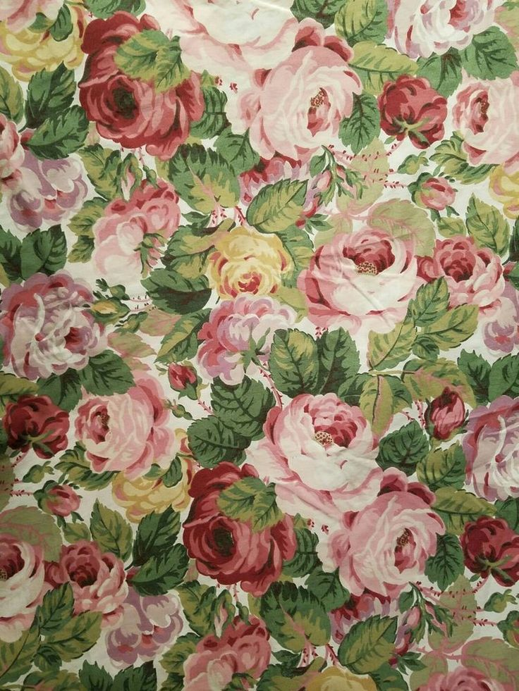 Cottage Chic Pink Cabbage Shabby Roses - Queen Flat Sheet - Excellent Condition
