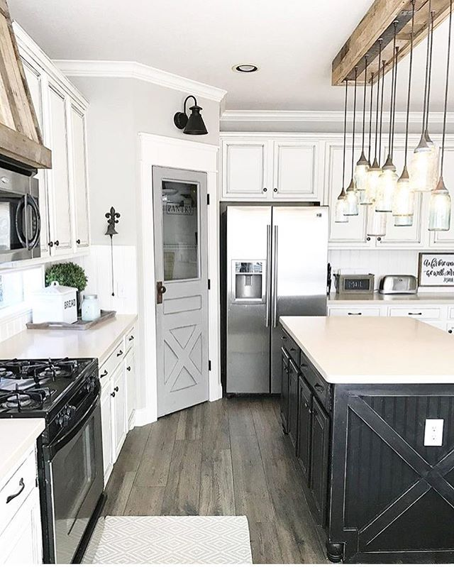 Hey friends! I was asked by some sweet ladies to share for #myhomecrush! This gorgeous kitchen belongs to the amazingly talented, Holly @ourfauxfarmhouse!! This girl is a DIY superstar! She and her husband did many of the updates in this kitchen themselves including that beautiful pantry door, the fabulous vent hood, and that a-mazing light fixture! I'm in awe of her talent and skills! Now, Holly and her husband are building a new house and I'm so excited to follow along their home…