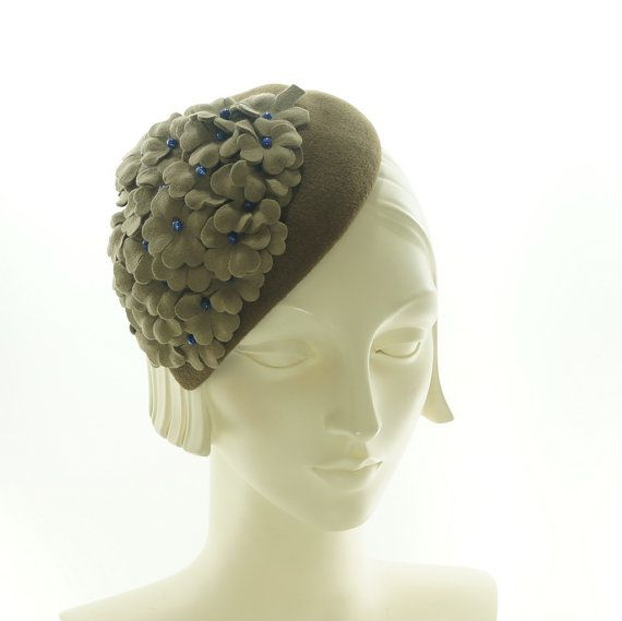 Brown Cocktail Hat for Women  Taupe Flowers by TheMillineryShop