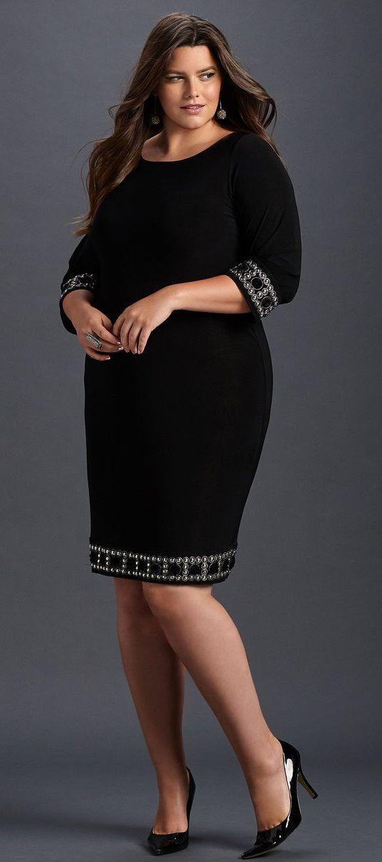 Plus Size Bead Trim Sheath Dress