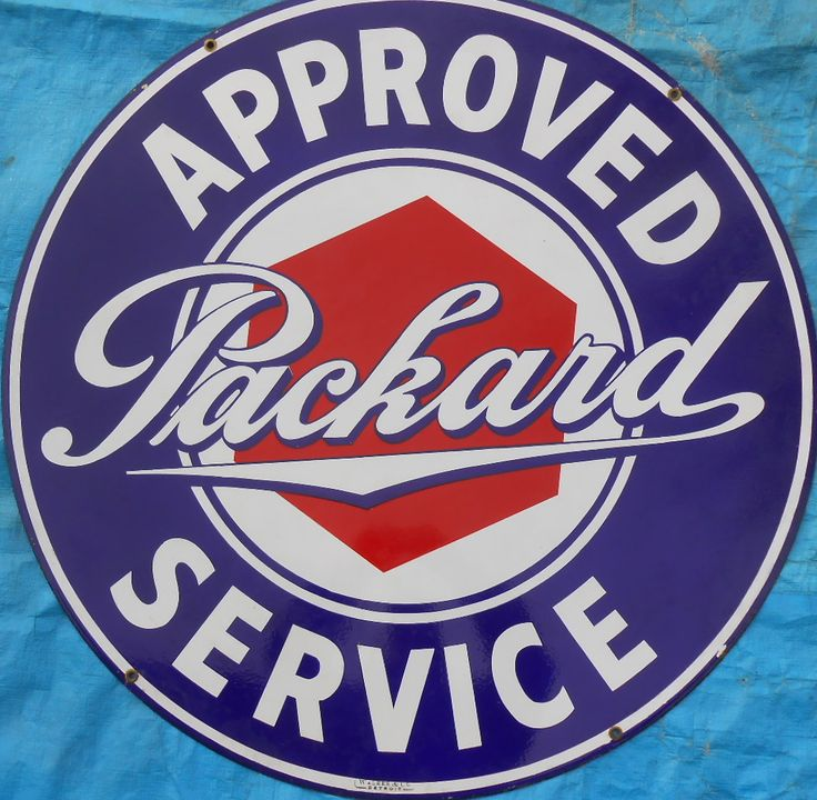 Packard double sided porcelain sign, signed Walker, appears to be NOS, 42 inch dia -  Realized Price: $8,625.00