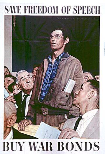 Original 1942 Office of War Information propaganda poster by Norman Rockwell, part of my collection obtained from The Vintage Poster, Laguna Beach.