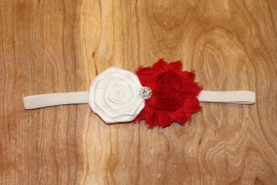 Festive Christmas Red and White Flower Headband by GirlyTreasures, $12.99