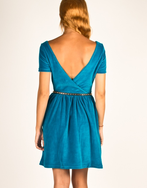 Short sleeve velours dress with V-open back, wide open at the ending. #fw13 #fashion #womensfashion #dress #velours #clothes
