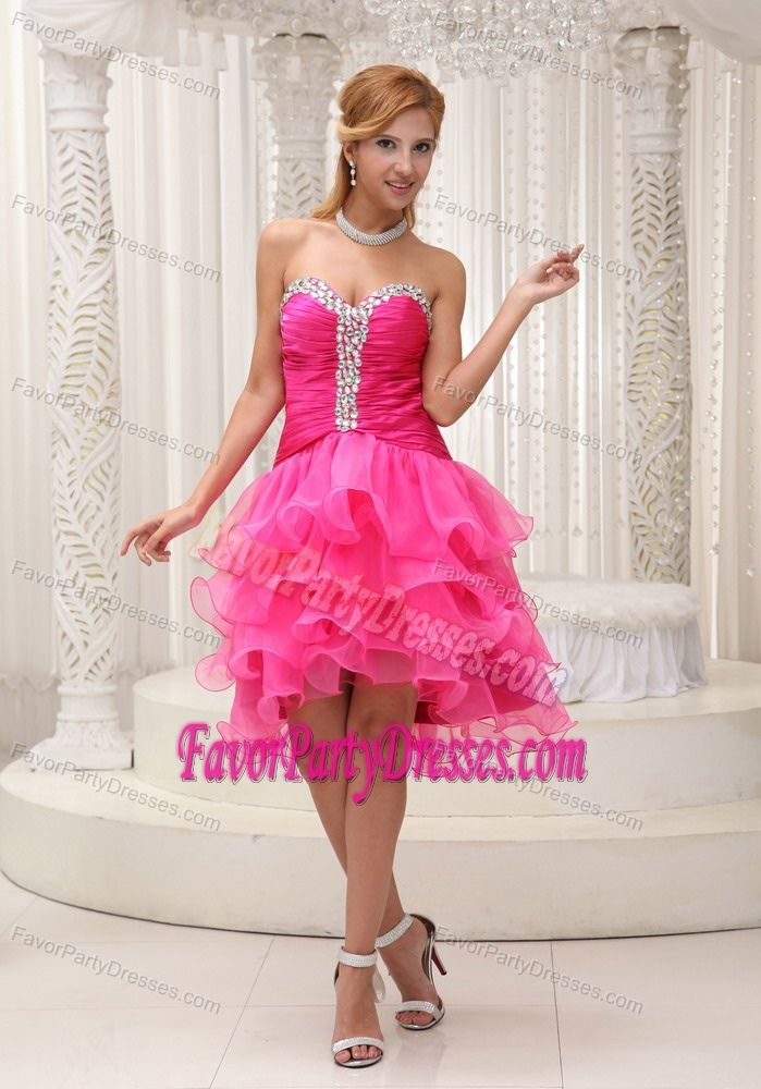Informal Sweetheart Ruffle Hot Pink Organza Beaded Celebrity Party Dress