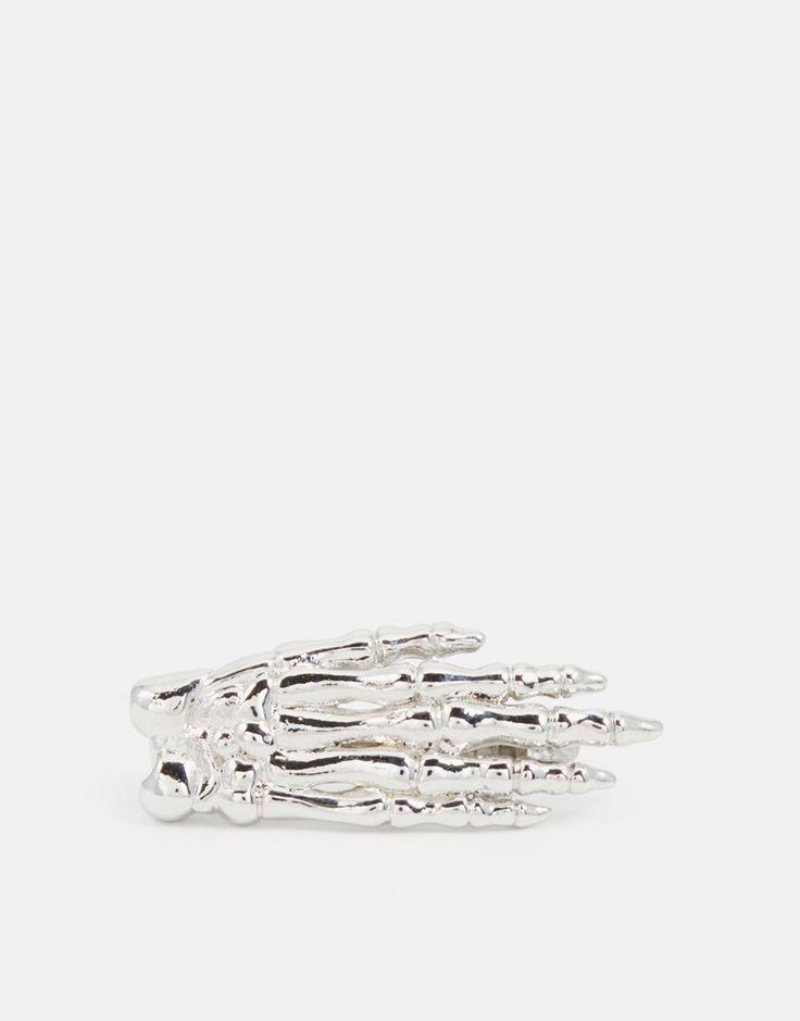 ASOS Skeleton Hand Tie Bar In Silver