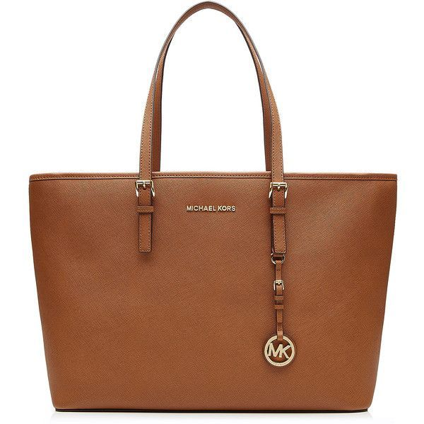 Michael Michael Kors Jet Set Medium Leather Tote (£175) ❤ liked on Polyvore featuring bags, handbags, tote bags, purses, totes, bolsa, brown, leather purse, genuine leather tote and brown tote bag