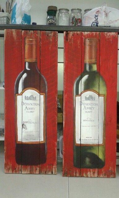 Wine bottles - Acrylic on pallet wood