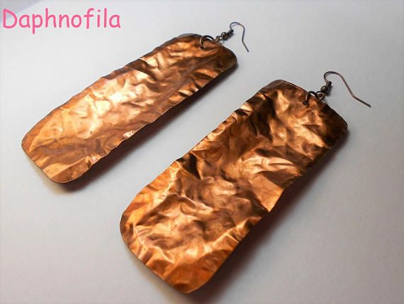 Like crumpled paper Crumpled copper sheet earrings Handmade