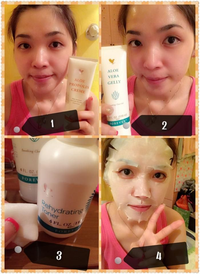 DIY Rehydrating mask 1.Apply Aloe Propolis Creme at the area which has pimples or scars 2.Apply Aloe Vera Gelly onto the face evenly. 3.Pour Rehydrating Toner onto the mask paper,make sure the mask paper is all wet. 4.Last,put the mask paper onto your face and wait for about 20 minutes.  The mask paper can also use for neck if it haven't dry up yet