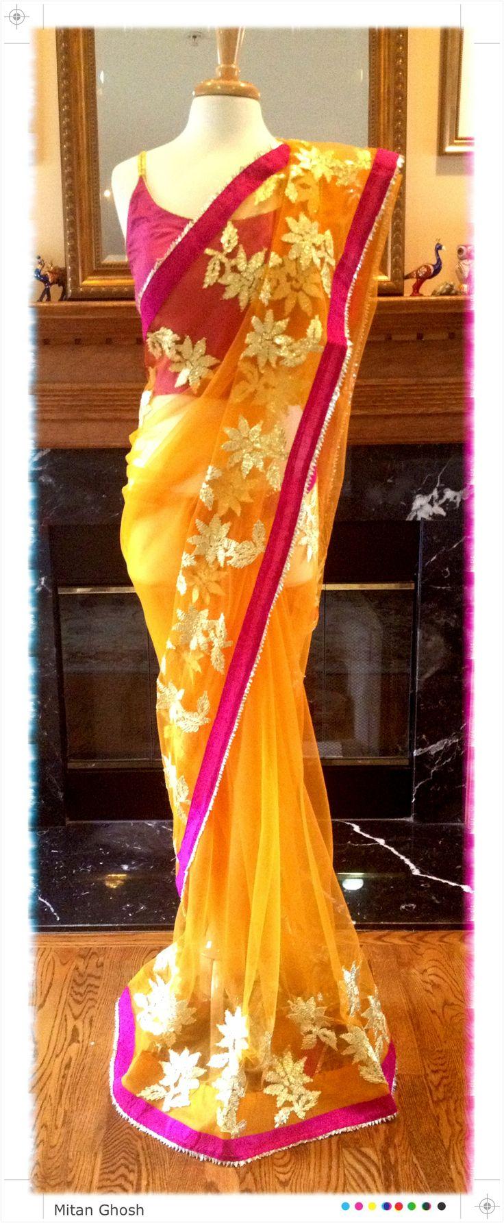 Very light weight net saree with Gota border.