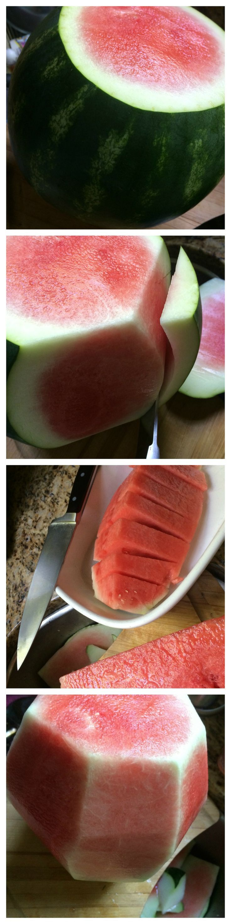 How to cut a watermelon. This tutorial shows the simple way to cut up a watermelon without the rind.