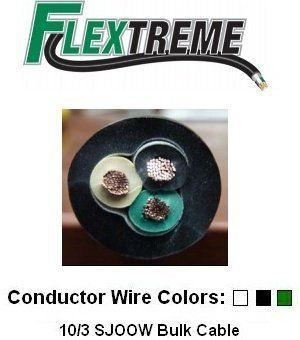 10/3 Bulk Cable 20 Foot - SJOOW Jacket, 30 Amps, 3 Wire, 300v - Water and Oil Resistant by Flextreme. $32.99. 20 Foot length of 10 3 electrical cable, rated for both indoor/outdoor use.  Rated 30 Amps and 300V w/ 3 conductors.  Oil and water resistant.